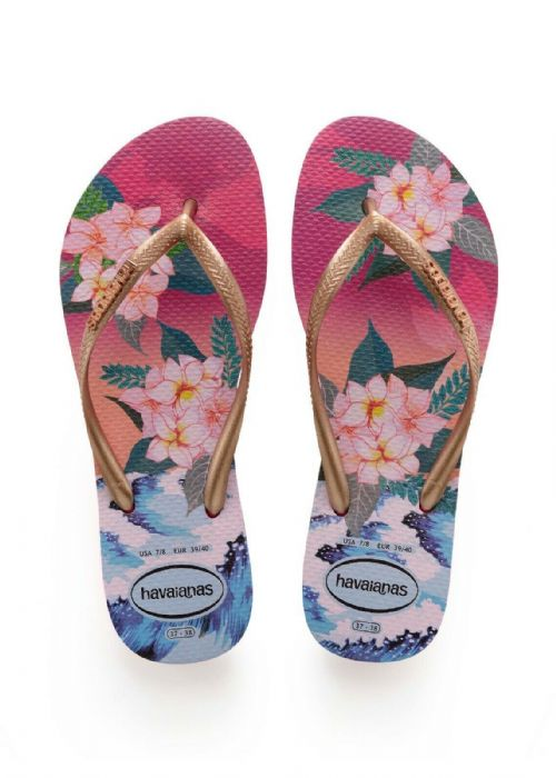 HAVAIANAS WOMENS FLIP FLOPS.SLIM TROPICAL SUNSET WATER RESISTANT THONGS 9S 81 64